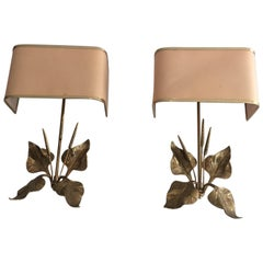 Pair of Bronze Sconces with Ears of Wheat and Leaves, French, circa 1970
