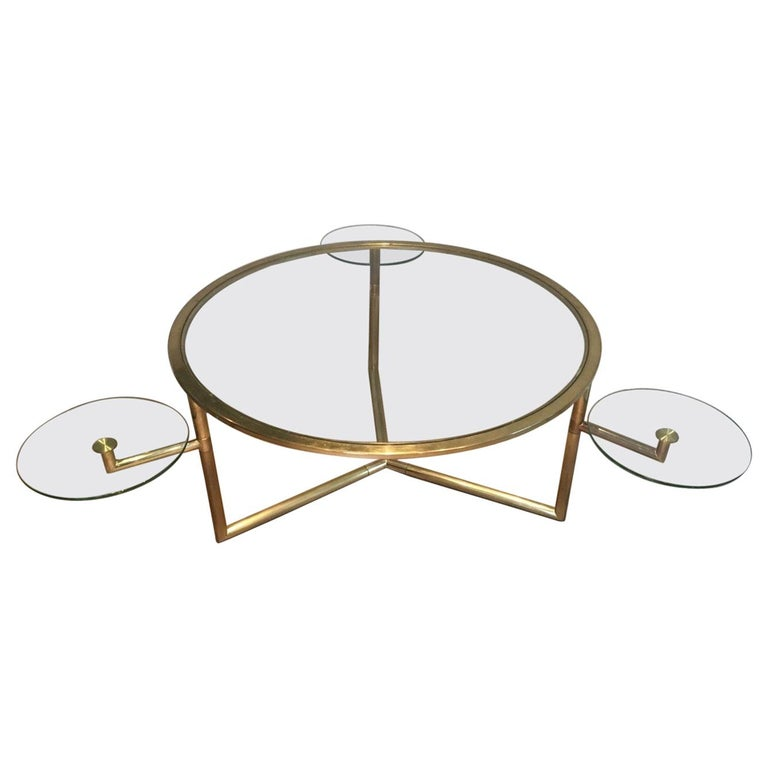 Beautiful Rare Round Gold Gilt Coffee Table with Removable Round Glass Shelves For Sale