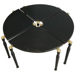 Unusual Black Wood and Brass Coffee Table Divided in 4 Quarters