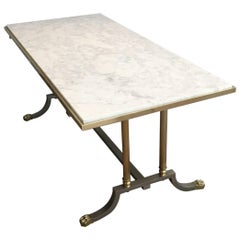 Brushed Steel and Brass Lion Feet Coffee Table with White Marble Top, circa 1940