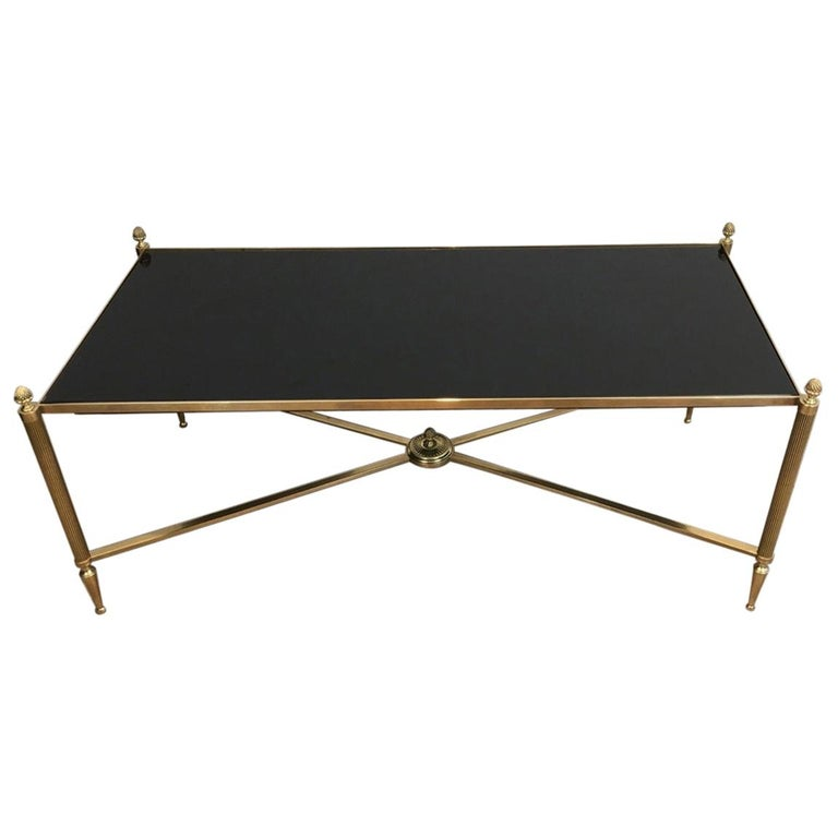 Neoclassical Brass Coffee Table with Black Lacquered Glass, French, circa 1940 For Sale
