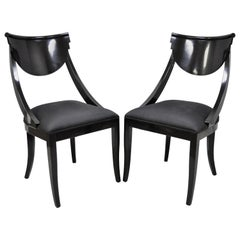Pair of Black Lacquer Italian Hollywood Regency Side Chairs by Pietro Costantini