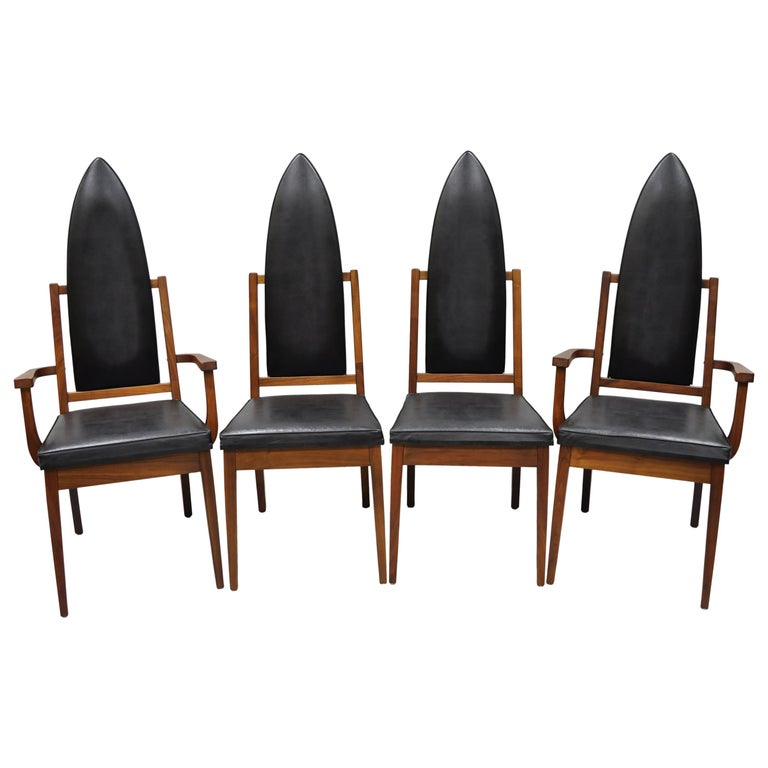4 Tall Point Back Walnut Mid-Century Modern Dining Chairs after Adrian Pearsall For Sale