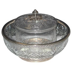 French Silver Mounted Cut Glass Caviar Serving Set, 1890