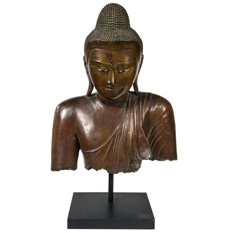 Burmese Bronze Head of the Buddha For Sale