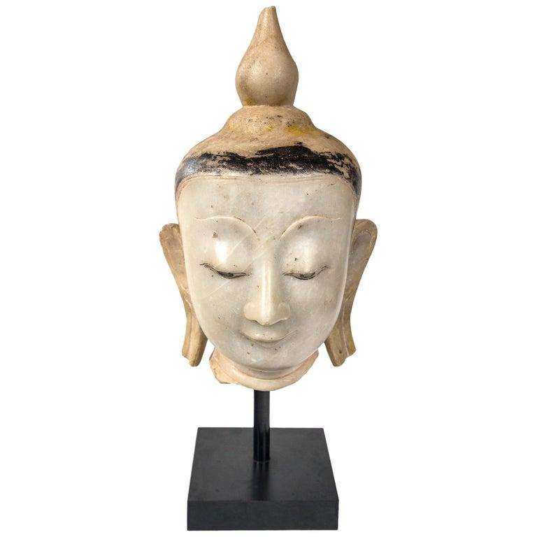 Burmese Marble Head of the Buddha For Sale