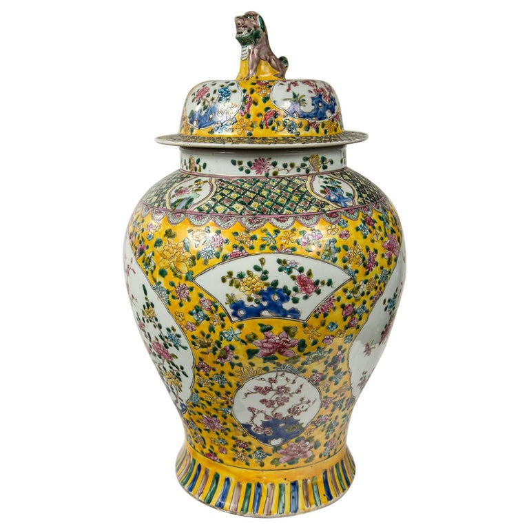 Large Pair of Chinese Porcelain Covered Jars For Sale