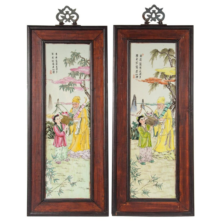 Set of 4 Framed Chinese Porcelain Plaques For Sale