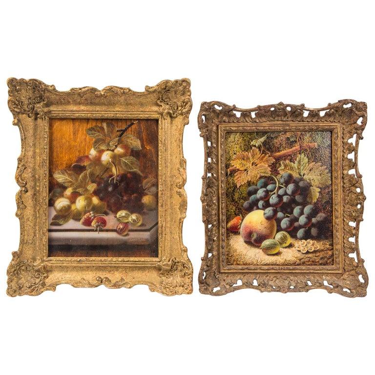 Set of 3 Still Life in Gilt Frames Signed For Sale