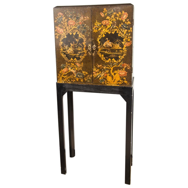 English Regency Lacquered Cabinet on Stand For Sale
