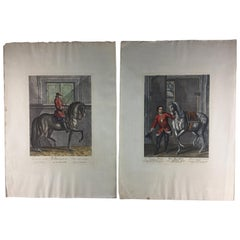 Pair of Engraving Prints of Horses and Riders in Dressage Poses