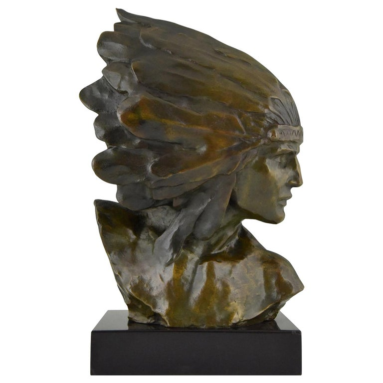 Art Deco Bronze Bust of an Indian with Headdress Louis Sosson, France, 1930 For Sale