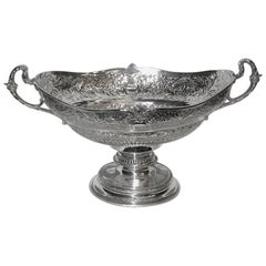 Antique Edwardian Silver Embossed Fruit Comport, 1907