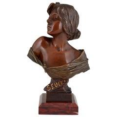 Seule Art Nouveau Bronze Bust of a Young Woman Emmanuel Villanis, France, 1900