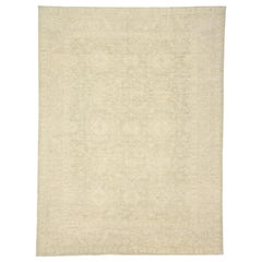 Transitional Beige Area Rug with Minimalist Style and Warm, Neutral Colors