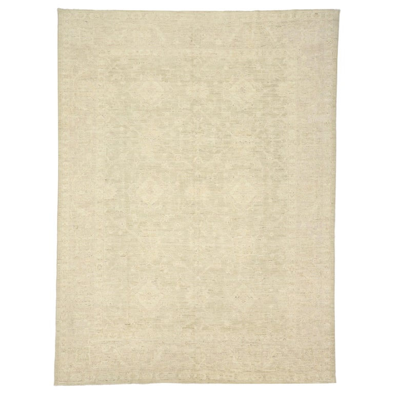 Transitional Beige Area Rug With Minimalist Style And Warm
