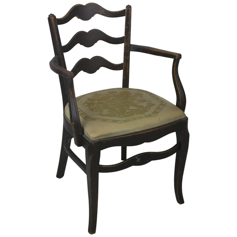 Early Thonet Classic Ladder Back Arm Chair With Label