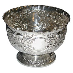 Edwardian Embossed Silver Rose Bowl, 1908