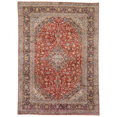 Vintage Persian Kashan Area Rug with Neoclassical Style
