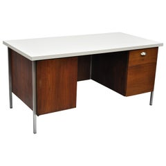 Florence Knoll Walnut Executive Desk with Laminate Top