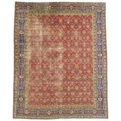Distressed Vintage Persian Tabriz Area Rug with Relaxed Federal Style