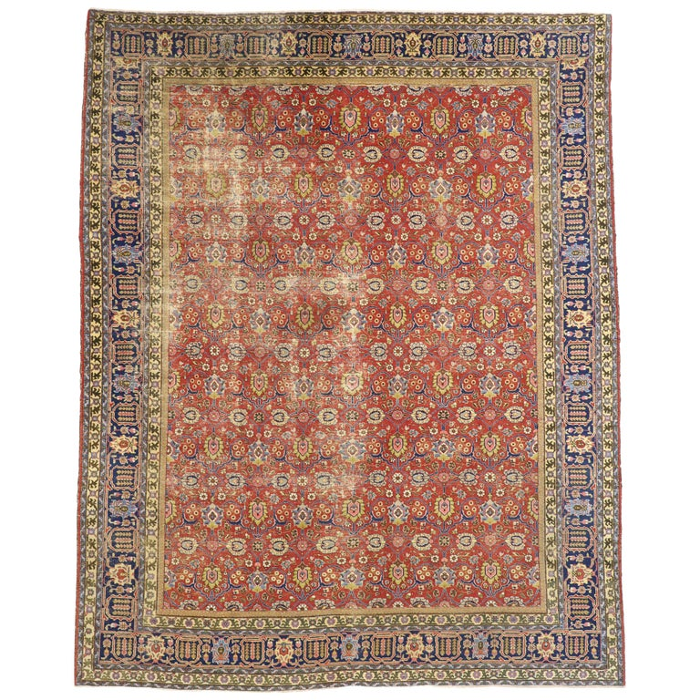 Distressed Vintage Persian Tabriz Area Rug with Relaxed Federal Style For Sale