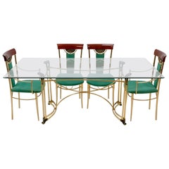 Italian Dining Table and Chairs, 1980s
