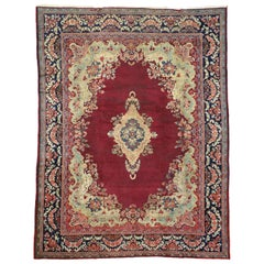 Vintage Mahal Persian Medallion Rug with French Rococo and Baroque Style