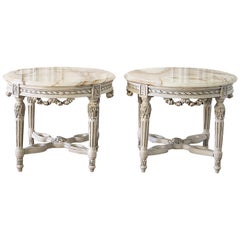 20th Century Carved Rose Swag Louis XVI Style Side Tables with Onyx Top