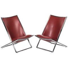 Pair of Ward Bennett Leather Scissor Chairs, Modern