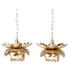 Pair of Brass Lotus Pendants or Light Fixtures, Priced Individually