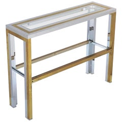Italian Console Table of Brass, Chrome, and Glass by Renato Zevi