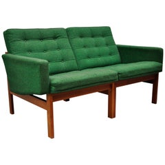 Gjerlov Knudsen & Torben Lind for France & Son Green Teak Moduline Loveseat Sofa