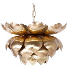 Large Brass Lotus Pendant or Light Fixture