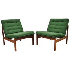 Gjerlov Knudsen & Torben Lind for France & Son Green Teak Moduline Slipper Chair