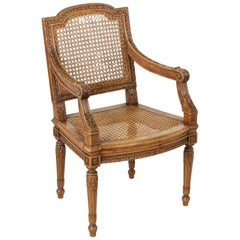 Mid-19th Century French Louis XVI Style Hand Carved Walnut Child's Armchair