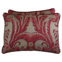 Crimson Red and Gold Fortuny Pillows, Pair