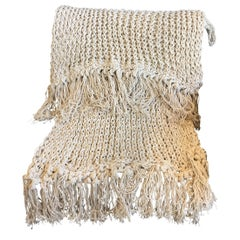 Recycled Open Weave Cotton Throw with Fringe, in Natural, in Stock
