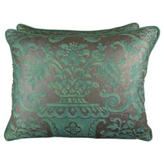 Peacock Green Fortuny Pillows, a Pair