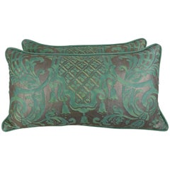Pair of Peacock Carnavalet Fortuny Textile Pillows