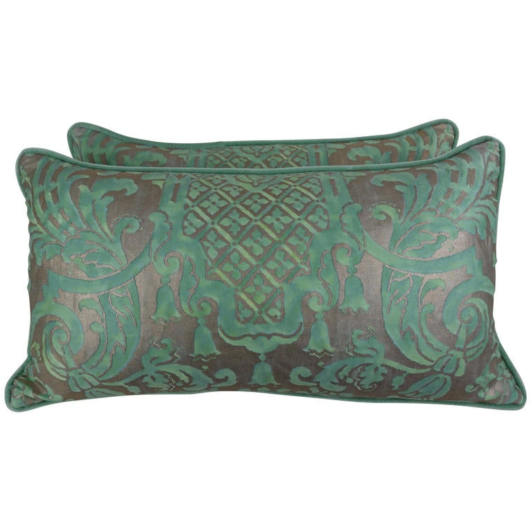 Pair of Peacock Carnavalet Fortuny Textile Pillows For Sale