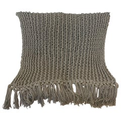 Recycled Open Weave Cotton Throw with Fringe, in Grey, in Stock