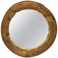 Rustic English Round Mirror in Wagon Wheel Frame of Oak and Iron (Diameter 43)