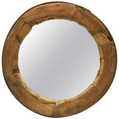 Rustic English Round Mirror in Wagon Wheel Frame of Oak and Iron (Diameter 43)