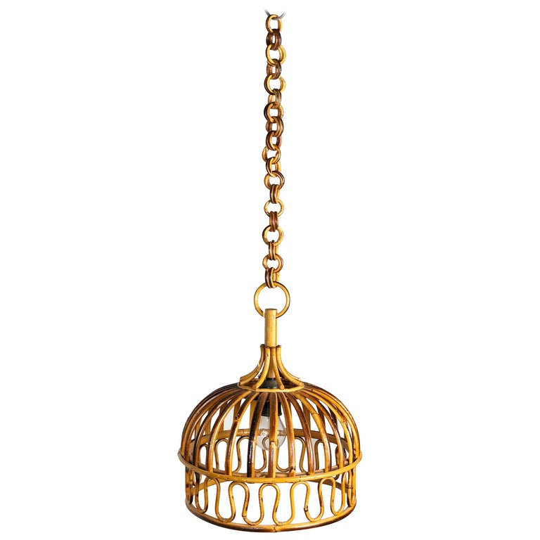 Franco Albini, Rattan Bell Shaped Pendant, French Riviera Style, Italy, 1960s For Sale