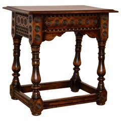 19th Century Walnut Carved Stool