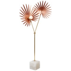 "Rosie Li ""Inez"" Sculptural Floor Lamp in Alabaster, Copper and Brass"