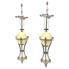 Pair of Silvered Bronze Ostrich Egg Table Lamps by Maison Charles