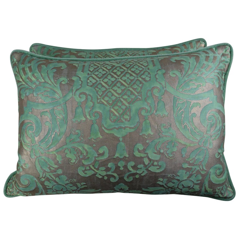 Carnavalet Patterned Fortuny Pillows, a Pair For Sale