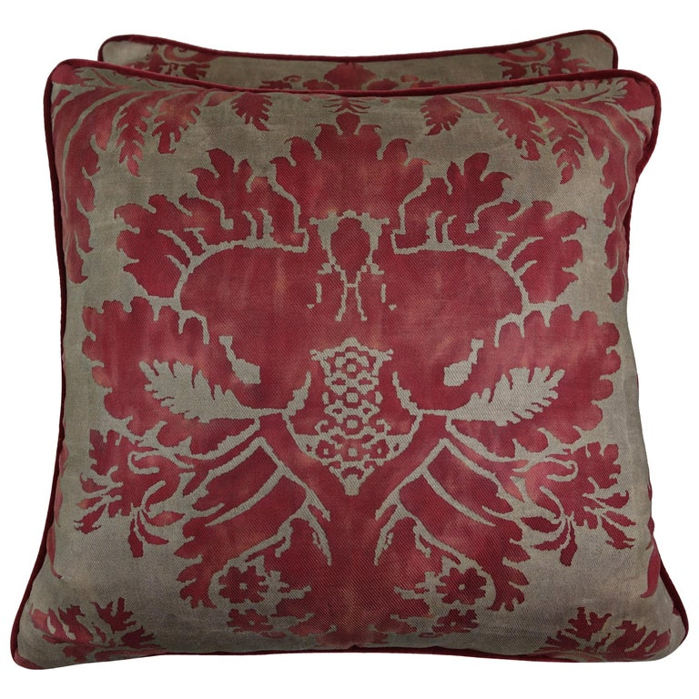 Glicine Patterned Red and Gold Fortuny Pillows, a Pair For Sale